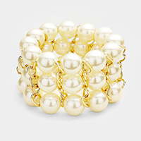 Pearl Strand Metal Chain Detail Stretch Bracelet
