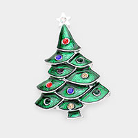 Enamel Stone Detail Christmas Tree Pin Brooch