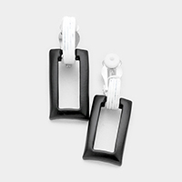 Cut Out Metal Rectangle Clip on Earrings