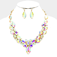 Marquise Glass Crystal Statement Evening Necklace