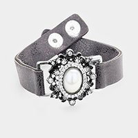 Stone Trimmed Antique Oval Pearl Accent Snap Button Bracelet