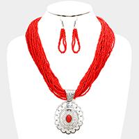Seed Beaded Antique Metal Oval Red Coral Pendant Necklace