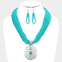 Seed Beaded Antique Metal Oval Turquoise Pendant Necklace