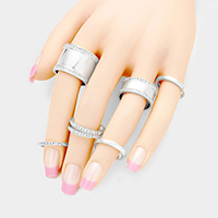 7PCS - Mixed Rhinestone Trimmed Metal Rings