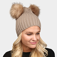 Solid Double Faux Fur Pom Pom Beanie
