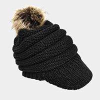 Soft Knit Faux Pom Pom Visor Hat