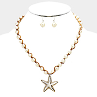 Pearl Two Tone Starfish Metal Pendant Necklace