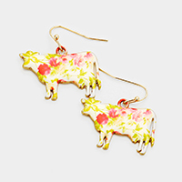 Flower Pattern Cow Dangle Earrings
