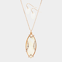 Oval Mother of Pearl Rhinestone Pendant Necklace