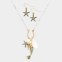 Sea Glass Starfish Mermaid Pearl Pendants Necklace