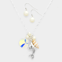 Mermaid Shell Pearl Pendants Necklace