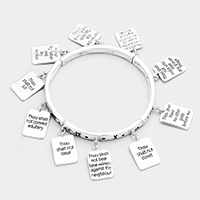 Rectangular Metal Message Charms Stretch Bracelet