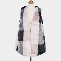 Check Patterned Furry Faux Fur Vest
