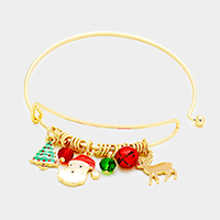 Christmas Theme Charms Bangle Bracelet