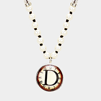 'D' Monogram Pearl Beaded Watch Printed Long Necklace