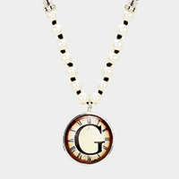 'G' Monogram Pearl Beaded Watch Printed Long Necklace