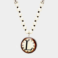 'L' Monogram Pearl Beaded Watch Printed Long Necklace