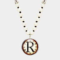 'R' Monogram Pearl Beaded Watch Printed Long Necklace