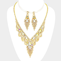 Teardrop Stone Detail Crystal Rhinestone Fringe Necklace