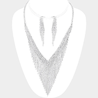 Pave Crystal Rhinestone V Collar Fringe Necklace