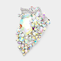 Floral Teardrop Glass Crystal Accented Pin Brooch / Pendant
