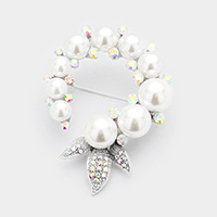 Pearl Accented Pave Triple Leaf Pin Brooch