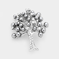 Pave Crystal Pearl Cluster Vine Tree Pin Brooch
