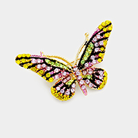 Crystal Rhinestone Pave Butterfly Pin Brooch