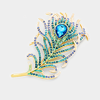 Teardrop Glass Crystal Accented Feather Brooch