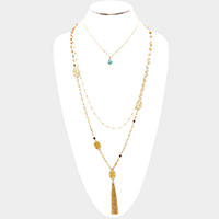 Layered Beaded Semi Precious Drop Chain Tassel Necklace