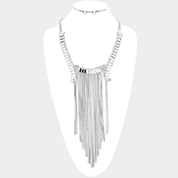 Crystal Rhinestone Long Drop Chain Fringe Necklace