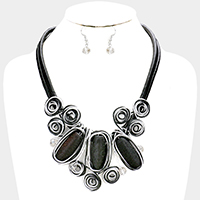 Cord Wire Wrapped Triple Oval Ball Statement Bib Necklace