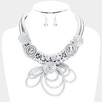 Draped Cord Spiral Metal Wire Statement Necklace