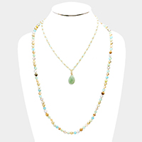 Layered Beaded Semi Precious Teardrop Accented Bib Necklace