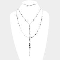 Layered Metal Disc Chain Y Shaped Necklace