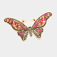Pave Crystal Rhinestone Butterfly Pin Brooch