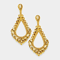 Oversized Cut Out Teardrop Cluster Vine Evening Earrings