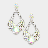 Oversized Cut Out Glass Teardrop Accented Evening Earrings