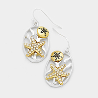 Rhinestone Starfish Sand Dollar Oval Dangle Earrings