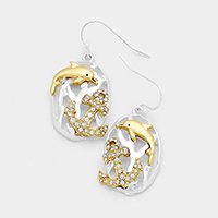 Rhinestone Anchor Dolphin Oval Dangle Earrings