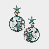 Starfish Rhinestone Seahorse Shell Dangle Earrings