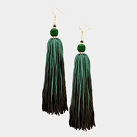 Oversized Two Tone Thread Tassel Earrings