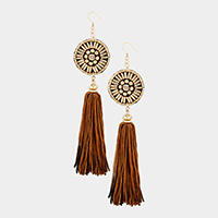 Oversized Beaded Disc Two Tone Thread Tassel Earrings