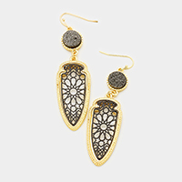 Faux Druzy Two Tone Filigree Metal Dangle Earrings