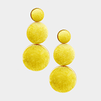 Oversized Triple Suede Dome Dangle Earrings