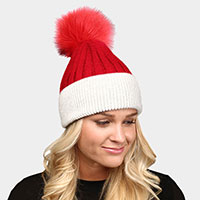 Two Toned Faux Pom Pom Winter Beanie