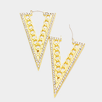 Pave Metal Chain Triangle Pin Catch Earrings