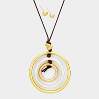 Cord Layered Triple Metal Hoop Pendant Necklace