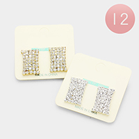 12Pairs - Pave Rhinestone Rectangle Clip on Earrings