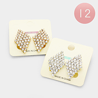 12Pairs - Pave Rhinestone Diamond Shaped Clip on Earrings